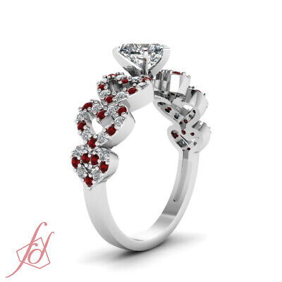 1 Ct GIA Certified Heart Shape Diamond & Round Red Ruby Pave Set Engagement Ring 2