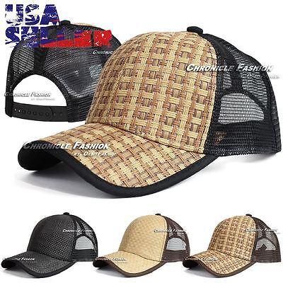 Mesh Back Baseball Hat (Trucker Hat Baseball Mesh Back Snapback Cap Adjustable Curved Solid Plain Mens )