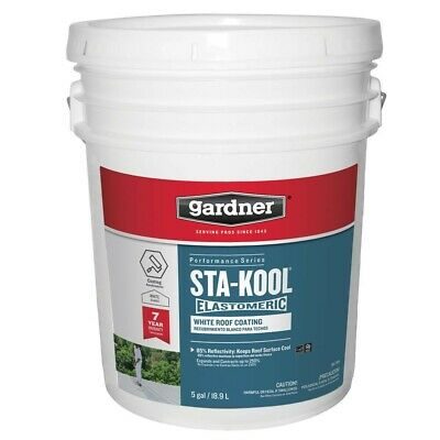 5 Gal. Sta-kool Elastomeric White Reflective Roof Coating Gardner Acrylics Seal