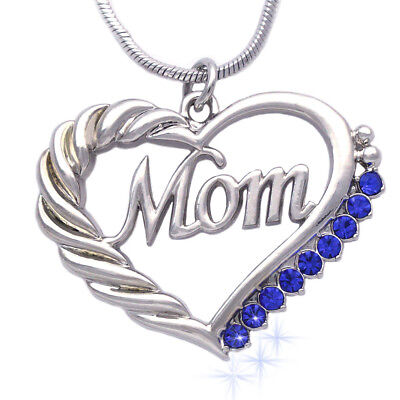 MOM Crystal Heart Pendant Necklace Chain Mothers Day Birthday Best Gift For
