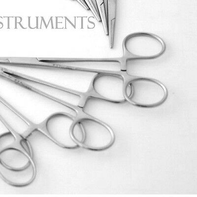 (10) MOSQUITO HEMOSTAT LOCKING FORCEPS 5 CURVED & 5 STRAIGHT Stainless Steel