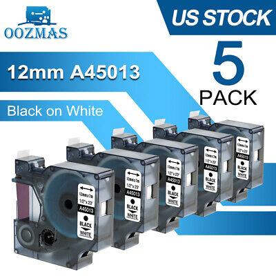 5pk For Dymo D1 Label Tape 12mm Black On White 45013 S0720530 Cassette 12 160