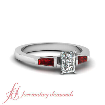.65 Ct Tapered Baguette Diamond Ruby Radiant Cut Engagement Ring GIA Size 4 -11