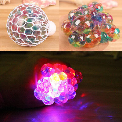 Mesh Squishy Ball LED Squeeze Grape Multi-Color Glowing Ball Stress Relief Toys - Mesh Squishy Ball