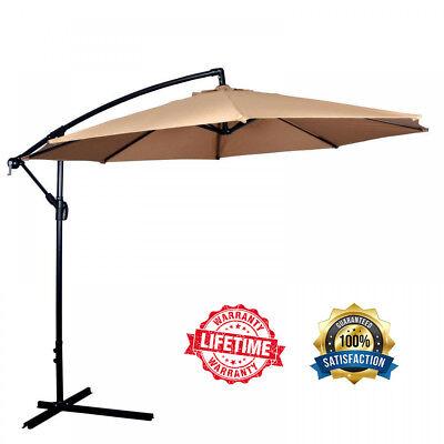 Patio Umbrella Offset 10' Hanging Umbrella Outdoor Market Beach Garden Umbrella  - Patio Beach Market Umbrella