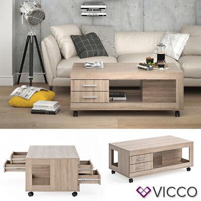 VICCO Couchtisch BRUNO 120x65cm mit Schublade Sonoma Eiche Wohnzimmertisch  ()