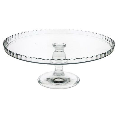32 cm Large Glass Cake Stand on Pedestal Fluted Edge Plate Display Serving Tray