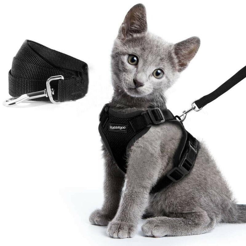 Reflective Cat Harness Rabbitgoo Walking Jacket Adjustable & 59 In Leash Black