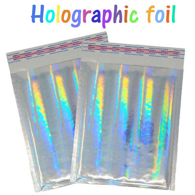 8.5x12 Holographic Metallic Bubble Mailers Color Padded Shipping Envelopes