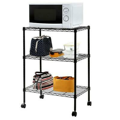 3 Tiers Wire Shelving Rack Cart Cookware Microwave Unit Rolling Wheels