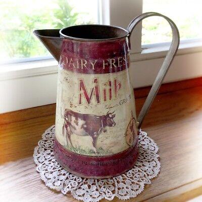 Vintage Blechkanne als Gartendeko Landhaus Blumenvase, Milch