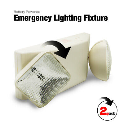 2 Pack Battery Powered Emergency Lighting Fixture Double Heads White New Us
