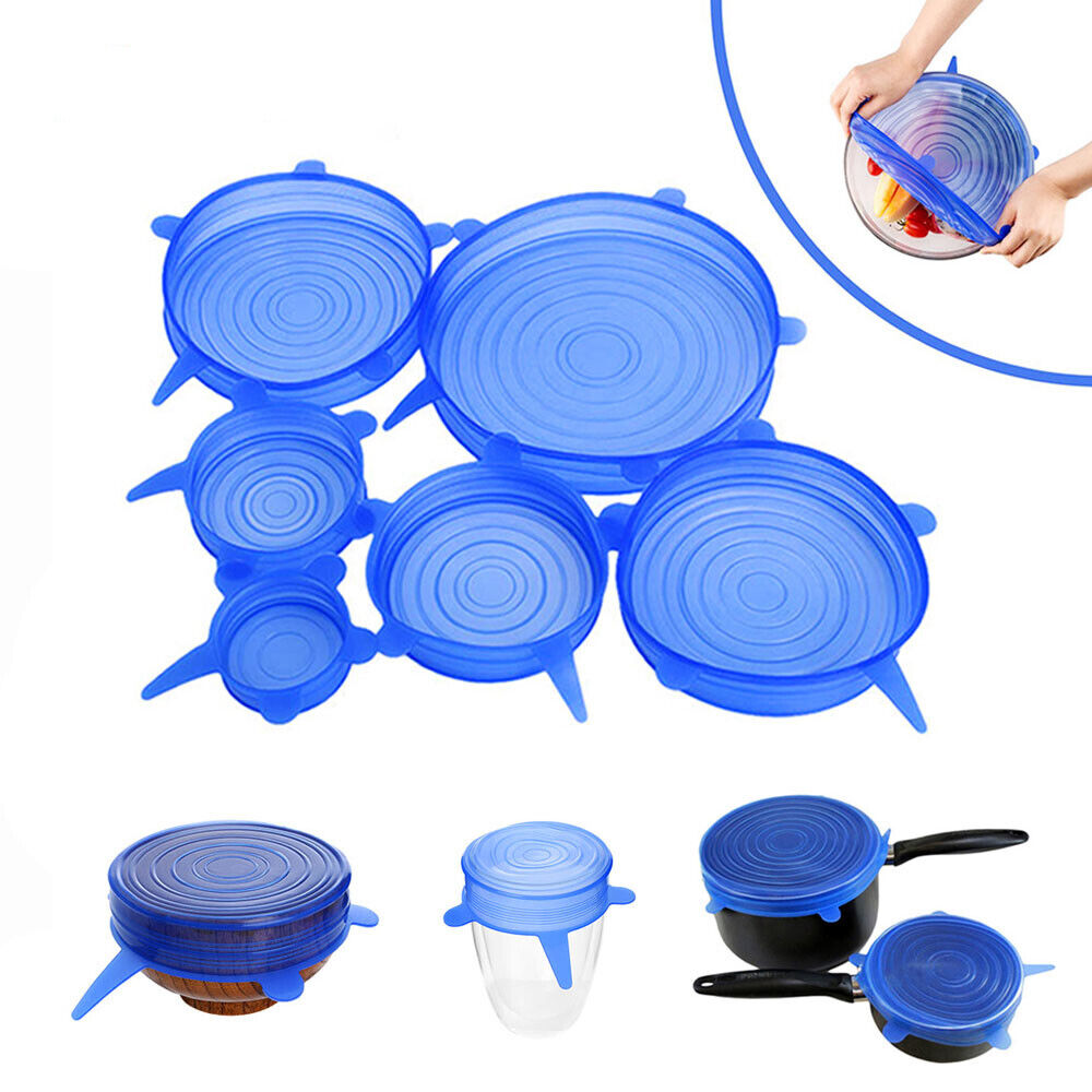 6PCS Stretch Reusable Silicone Wraps Food Saver Cover Seal LIDS SET