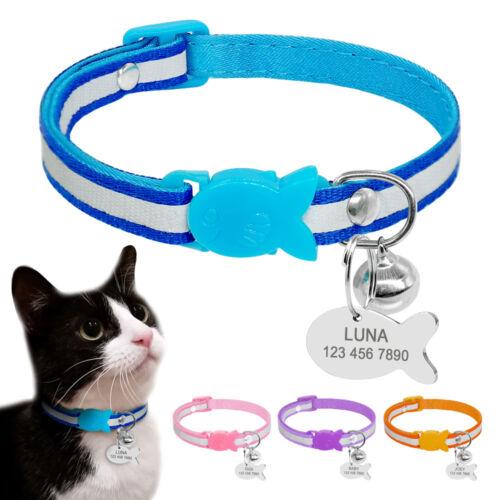 Nylon Reflective Dog Cat Breakaway Collar Engraved ID Tag Qu