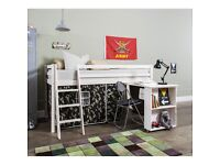 Cabin/Mid Sleeper Bed With Desk & Army Tent
