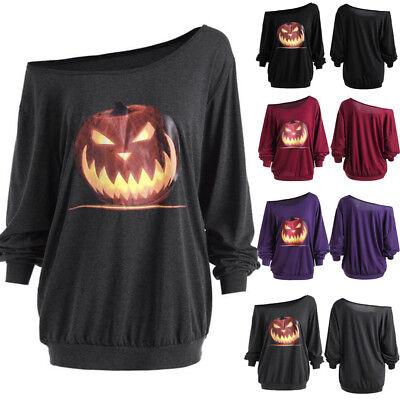 Plus Size Womens Long Sleeve Halloween Angry Pumpkin Skew Neck Tee Blouse Tops - Plus Size Halloween Tops