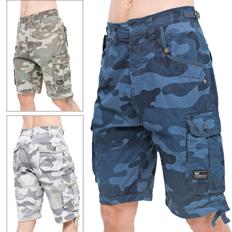 Crosshatch Mens Jimster Camo Print Cargo Combat Army Camouflage Summer Shorts