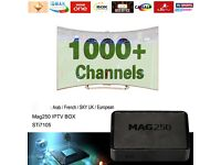 IPTV Mag 250 Europe ARAB Nilesat 1 YEAR SERVICE 1000 + CHANNELS / KODI / TV BOX / BEST STREAMS