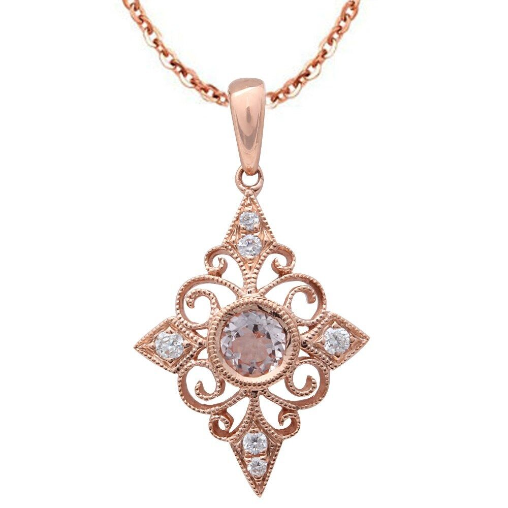 39ct F Vs Morganite Amp Diamond Vintage Inspired 14kt Rose
