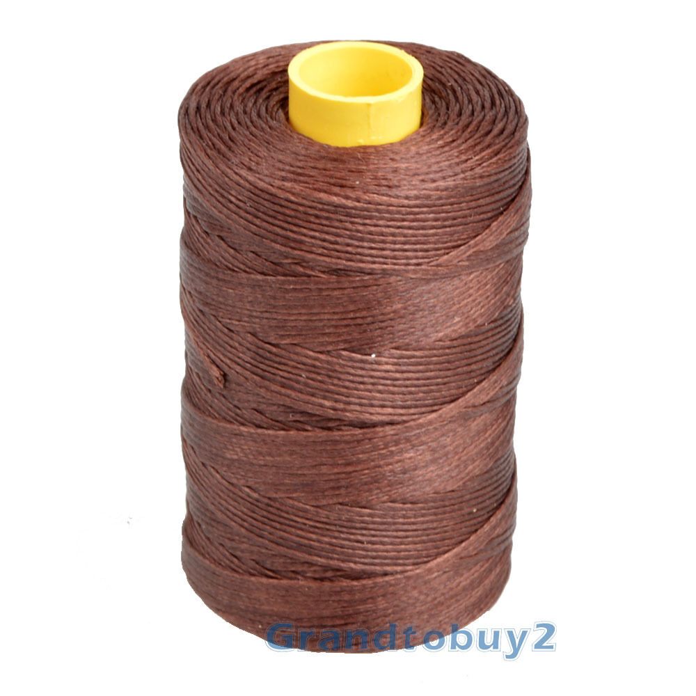 100m Spool 1mm Flat Waxed Thread Cord Leather Sewing Hand Stitching Thread #7 Coffee