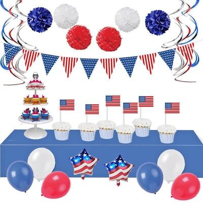 4th of July 34 Party Decorations-American Flag Balloons Banner Swirls Tablecloth - 4th Of July Party Decorations