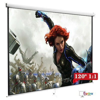 Manual Pull Down Projection Screen 120 11 Matte White Home Hd Movie Theater