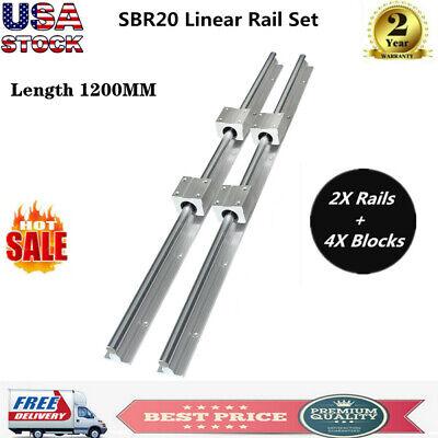 Cnc Sbr 20-1200mm 20mm Linear Slide Guide Shaft 2 Rail4sbr20uu Bearing Block Us
