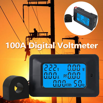 100a Ac Lcd Digital Panel Power Meter Monitor Voltage Voltmeter Ammeter Us Ship
