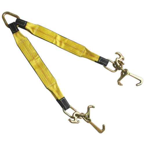 """3"""" x 30"""" Tow Strap V Bridle with RTJ Cluster Hook 2 Leg 5400 LBS WLL"""