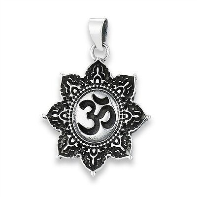 Sterling Silver Om Ohm Sun Motif Pendant Charm 925 Jewelry Eastern Hindu