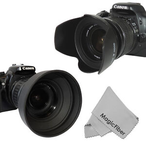 58MM Petal Flower & Collapsible Rubber Lens Hood for Canon 18-55mm