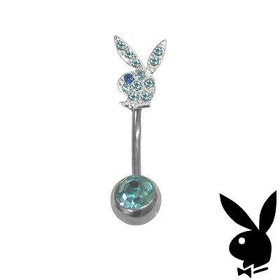 Playboy Belly Button Ring Body Jewelry 1 Navel Piercing Blue Swarovski Crystal