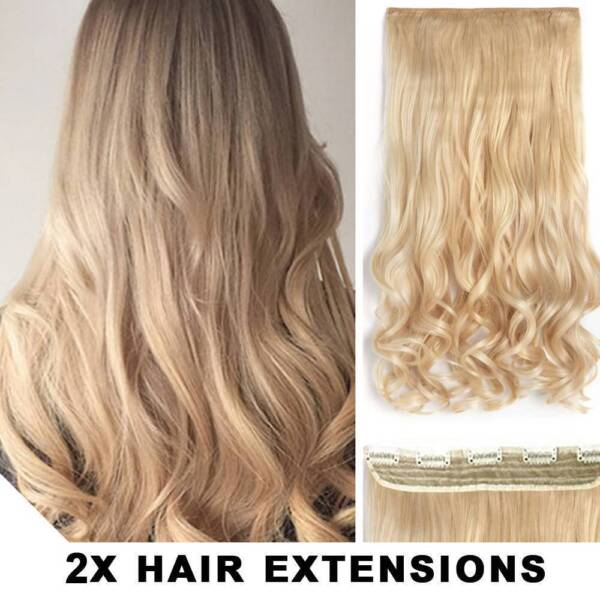 2pcs Medium Blonde 22inch Synthetic Hair Clip In Hair Extension