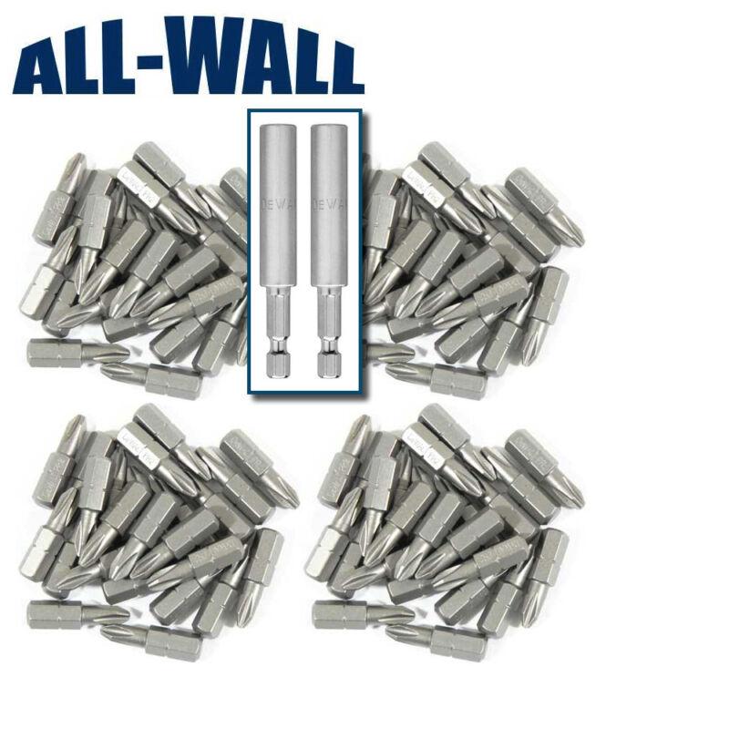 DeWalt Drywall Screw Gun Bits 100-Pack Reduced #2 Phillips + 2 Bit Holders
