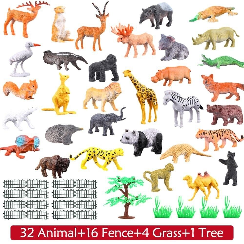Zoo Animal Toys Small Farm Playset Plastic Bulk Jungle Fores