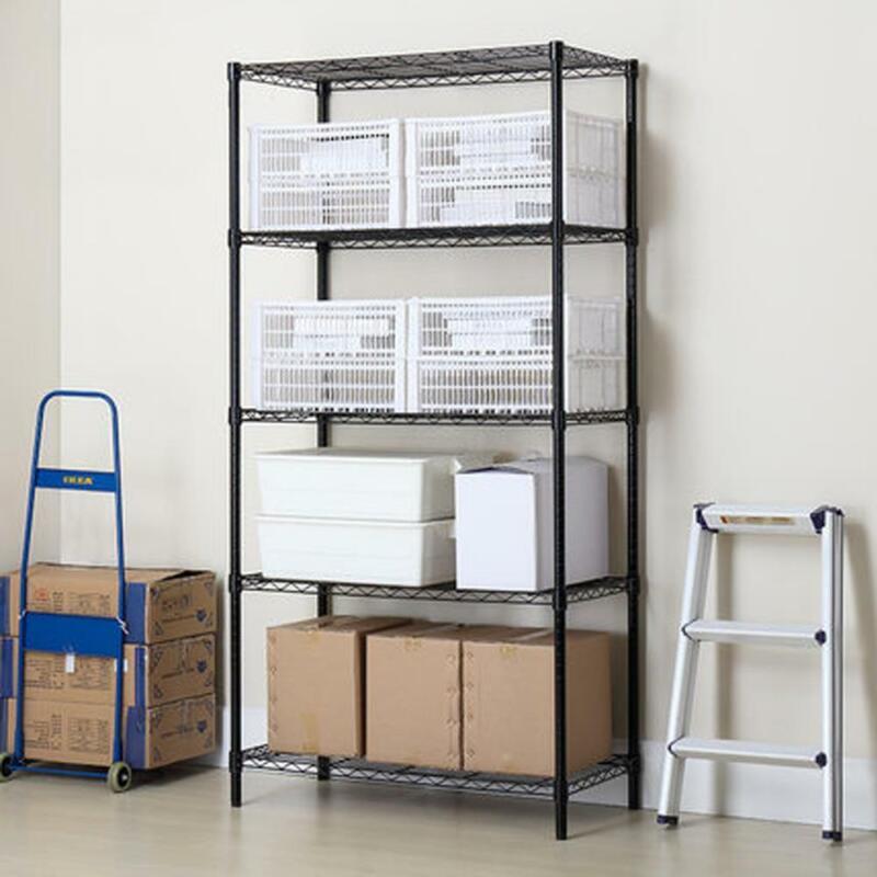 5 Layer Wire Rack Shelf Adjustable Unit Garage Kitchen Storage Organizer Black
