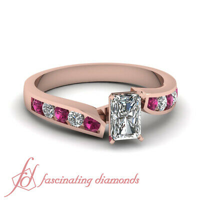 Pink Sapphire & Diamond Rose Gold Engagement Ring With Radiant Cut 1 Carat GIA