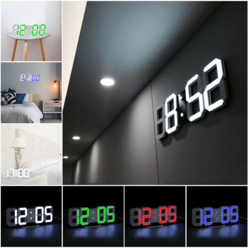 Digital 3D LED Big Wall Desk Alarm Clock Snooze 12/24 Hours