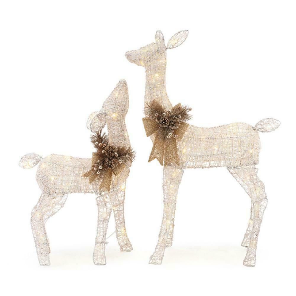 Details About Christmas Yard Decor Led Lighted White Pvc Deer Doe Indoor Outdoor Accent New