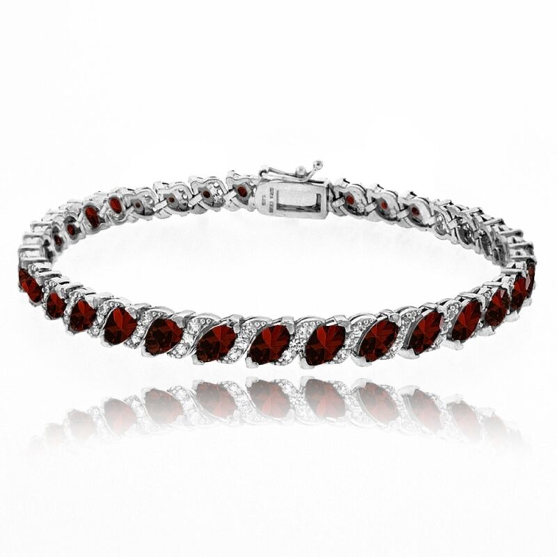 Garnet Tennis Bracelet with White Topaz Accents in Sterling Silver