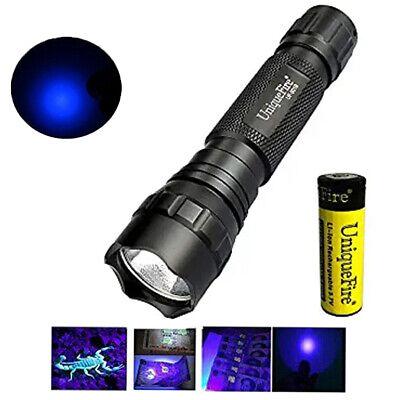 UV 365NM Ultraviolet Flashlight with 18650 Battery LED Handheld Blacklight Torch