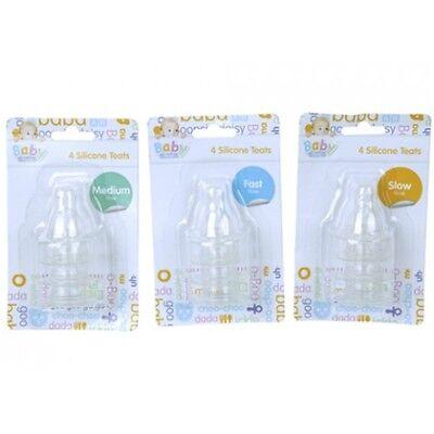 Set Of 4 Regular Neck Silicone Baby Bottle Teats - Assorted Sizes. - Sizes Fast