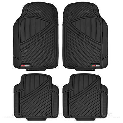 Rugged Liner Heavy Duty Rubber Car Floor Mats   4pc Front Rear Black All Weather