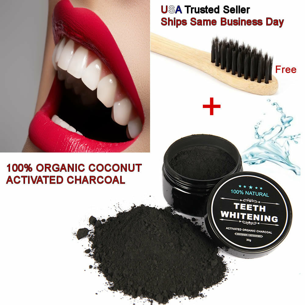Natural Teeth Whitening Activated Charcoal Toothpaste Powder Bamboo Toothbrush Health & Beauty