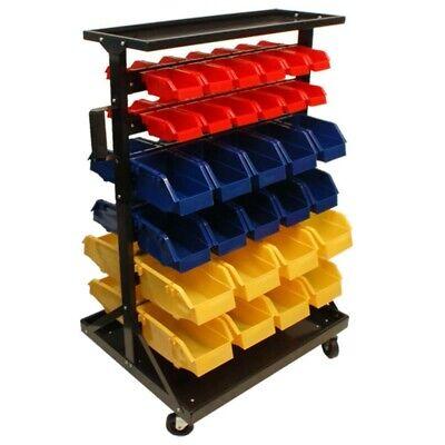 60 Removable Bin Rack Cabinet Parts Accessories Storage Organizer Rack w/ Wheels