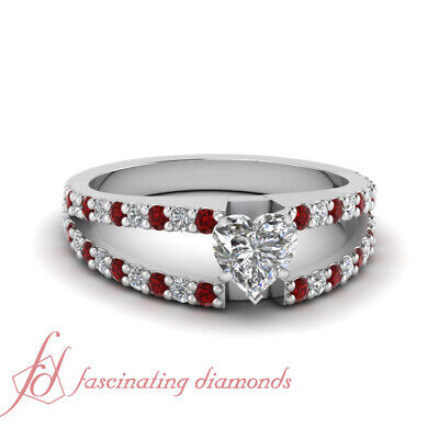 1.10 Ct Heart Shaped Diamond & Round Ruby Cleaved Band Engagement Ring SI1 GIA