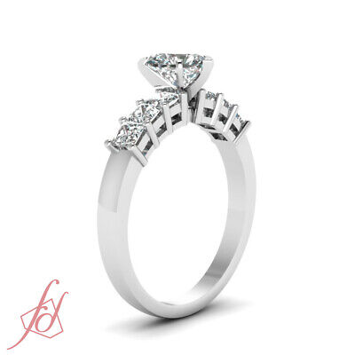 Septet Sparkle Engagement Ring 1.40 Ct Heart Shaped Ideal Cut Diamond SI2 GIA 2