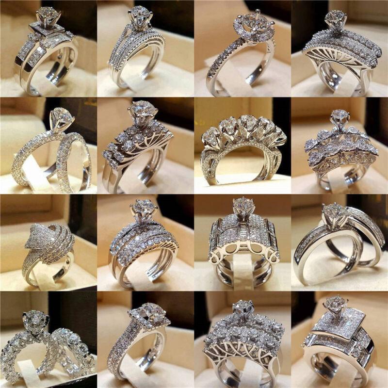 Women Engagement Wedding Ring Crystal Rhinestone White Gold