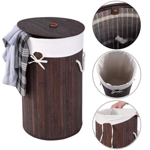 Round Bamboo Hamper Laundry Basket Washing Clothes Bin Organ