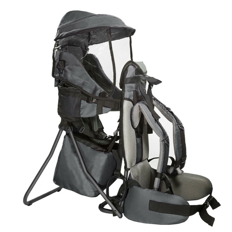 ClevrPlus Baby Backpack Camping Hiking Child Toddler Carrier Shade Visor, Grey